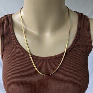 Vintage Textured Gold Flat Chain Necklace